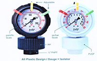 OBS Series Plastic Pressure Isolators and Pressure Gauges
