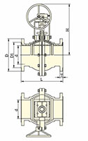 PFA Lined Center Split Full Port Gear Operated Ball Valves - Dimensional Drawing