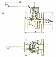 PFA Lined Side Split Reduced Port Lever Operated Ball Valves - Dimensional Drawing