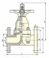 1/2 to 3 Inch (in) Size Rising Spindle, Spring Diaphragm Valves - Dimensional Drawing