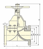 100 to 200 Millimeter (mm) Nominal Diameter (DN) Rising Handwheel Diaphragm Valves - Dimensional Drawing