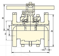 PFA Lined Lever Operated Plug Valves - Dimensional Drawing