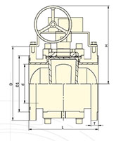 PFA Lined Gear Operated Plug Valves - Dimensional Drawing