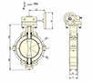 Wafer Lined Gear Operated Butterfly Valves - Dimensional Drawing