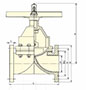 4 to 8 Inch (in) Size Rising Handwheel Diaphragm Valves - Dimensional Drawing