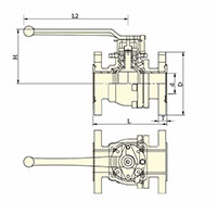 PFA Lined Side Split Full Port Lever Operated Ball Valves - Dimensional Drawing