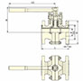 PFA Lined Center Split Full Port Lever Operated Ball Valves - Dimensional Drawing